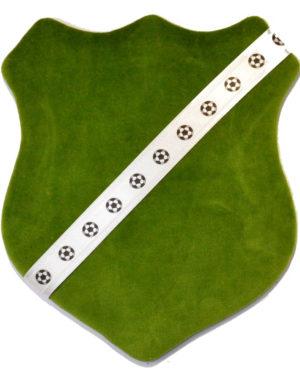 Märkessköld - Mörkgrön med fotbollar