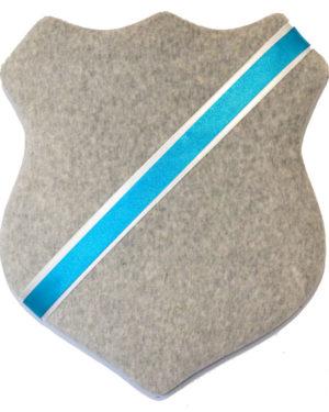 Märkessköld - Grå med turkost band