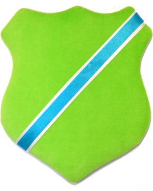 Märkessköld - Ljusgrön med turkost band