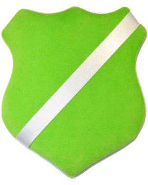 Märkessköld - Ljusgrön med vitt band