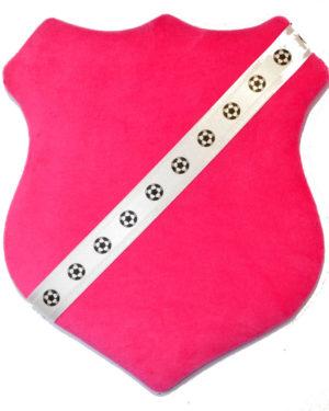 Märkessköld - Mörkrosa med fotbollar