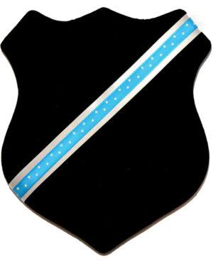 Märkessköld - Svart med ljusblått stjärnband
