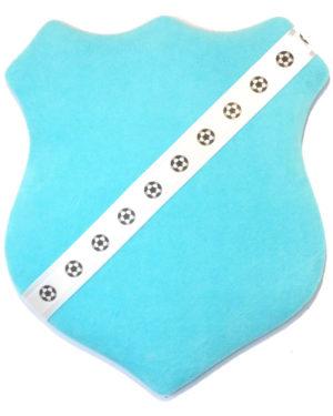 Märkessköld - Turkos med fotbollar